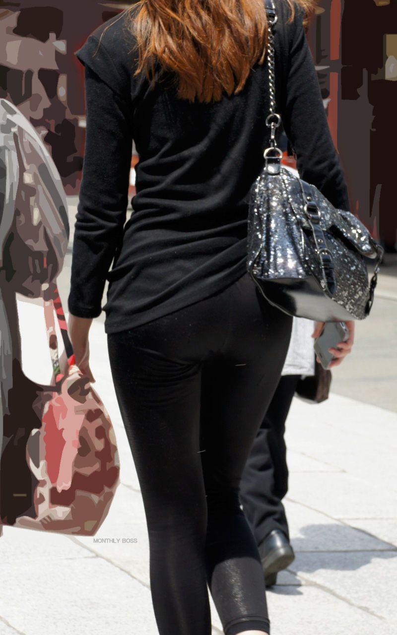 【街撮り画像】これはもはや下着だろwwwなレギンス纏ったムチムチ下半身たち 14