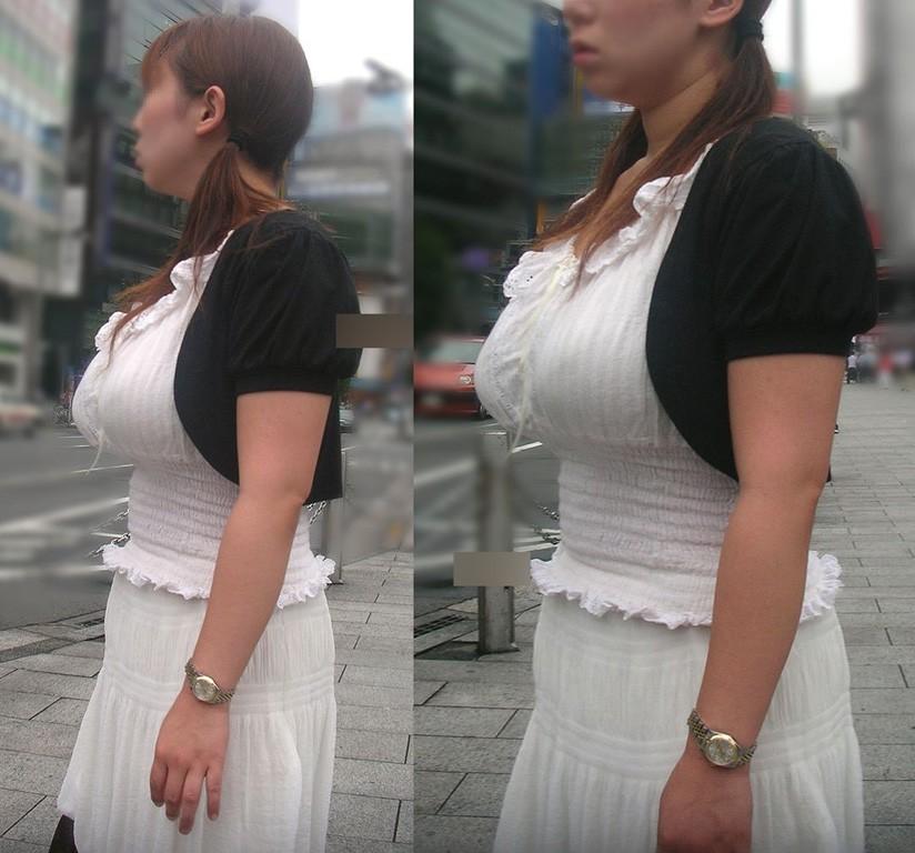 【着衣巨乳画像】おっぱいの形わかりすぎでエロいw乳袋な素人たち 02