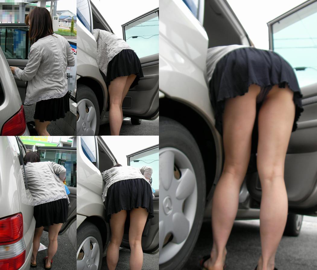 【パンチラ画像】車の乗降時にミニスカ美女が全開でパンチラwww 14