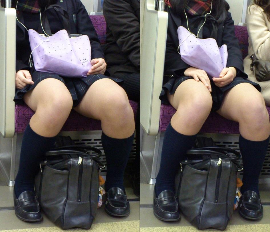 【JK太股画像】程よく太めでおいしそーなJKの剥き出し太股を電車で激撮! 19