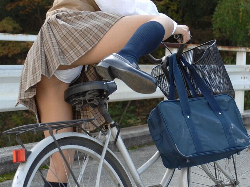 【JKパンチラ画像】風も味方www自転車通学中のJKのスカートめくれと生パンツ 07