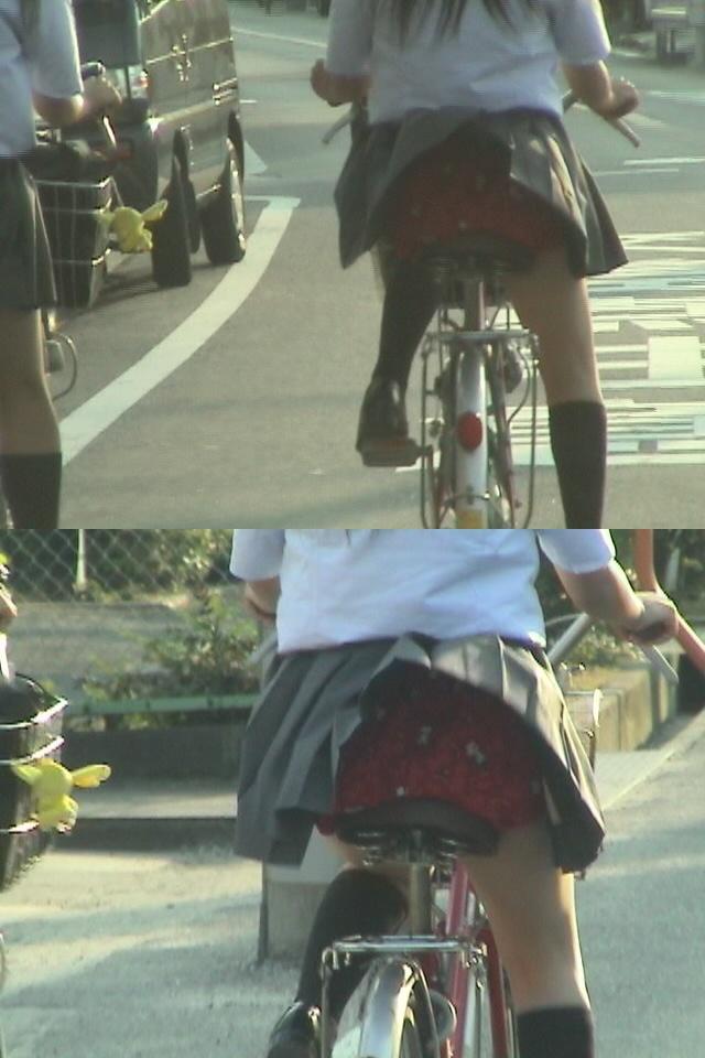 【JKパンチラ画像】風も味方www自転車通学中のJKのスカートめくれと生パンツ 14