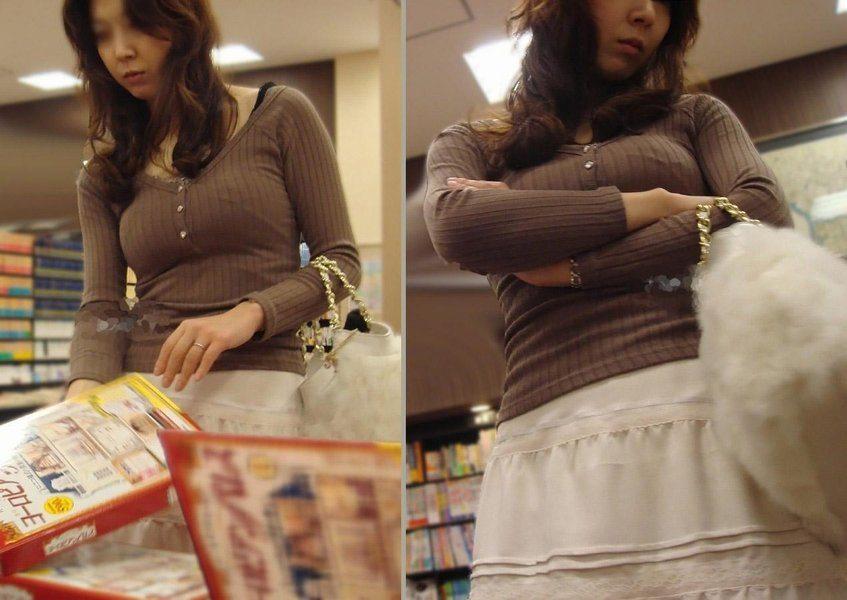 【街撮り巨乳画像】ニット・セーター着て乳袋を強調するエロい素人たち 11