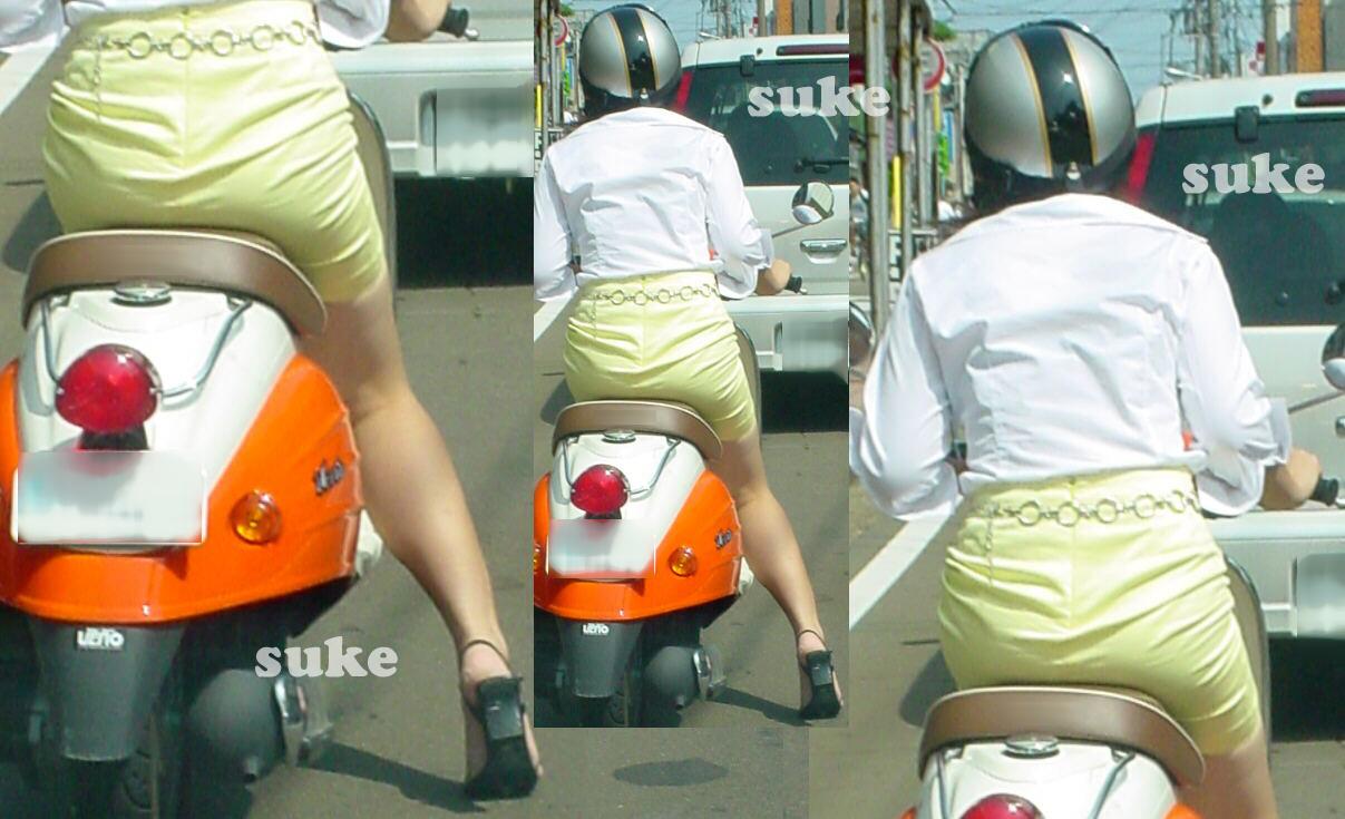 【フェチ画像】代わりに跨ってくれwwwバイクに乗ったお姉さんのムチムチ下半身に視線釘付け 20