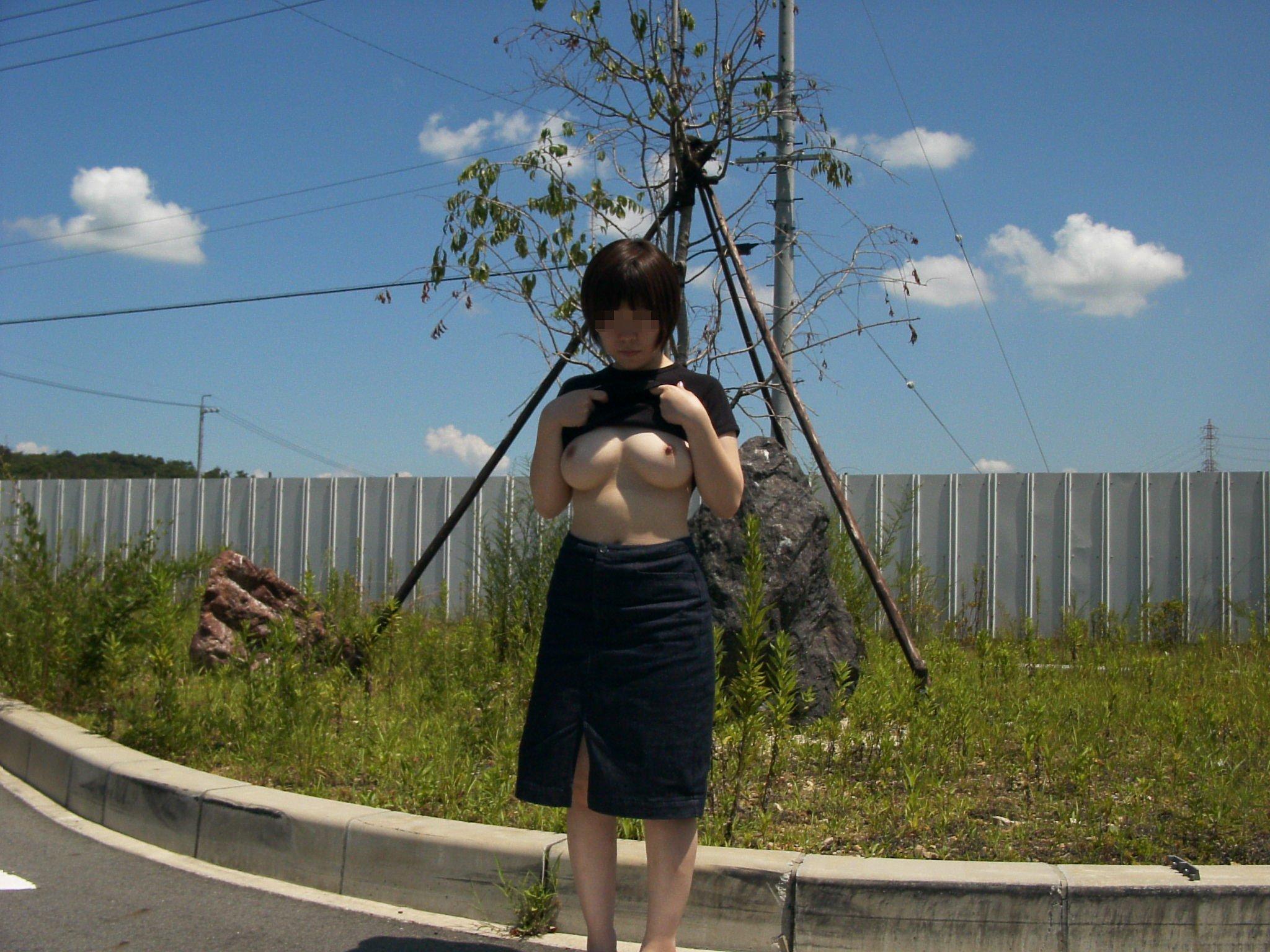 【野外露出画像】青空の下でおっぱいを露出する変態女の画像 03