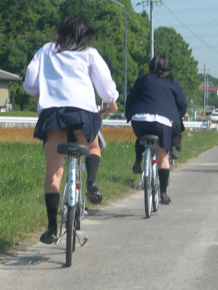 【JKパンチラ画像】通学途中のアクシデントwwwチャリンコ乗ったJKたちのパンチラ 03
