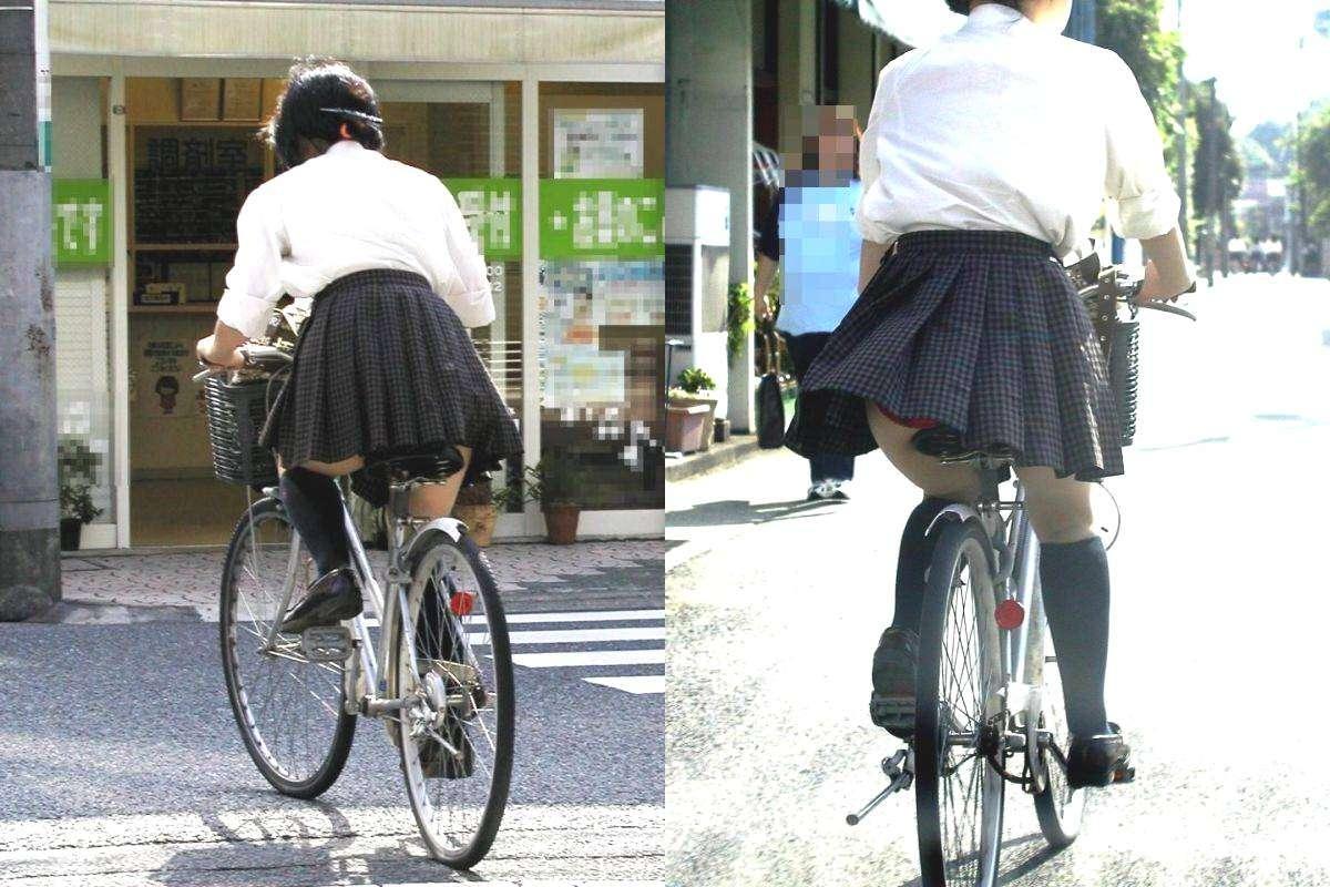 【JKパンチラ画像】通学途中のアクシデントwwwチャリンコ乗ったJKたちのパンチラ 05