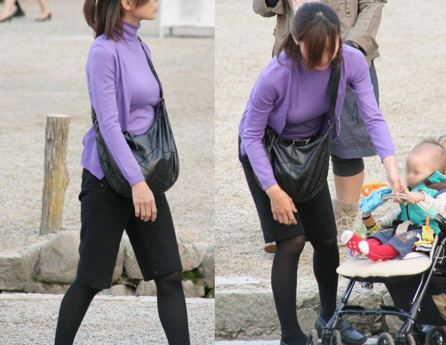 【街撮り人妻】子連れのママさん達の巨乳・乳袋率が高すぎてヤバイwww 08
