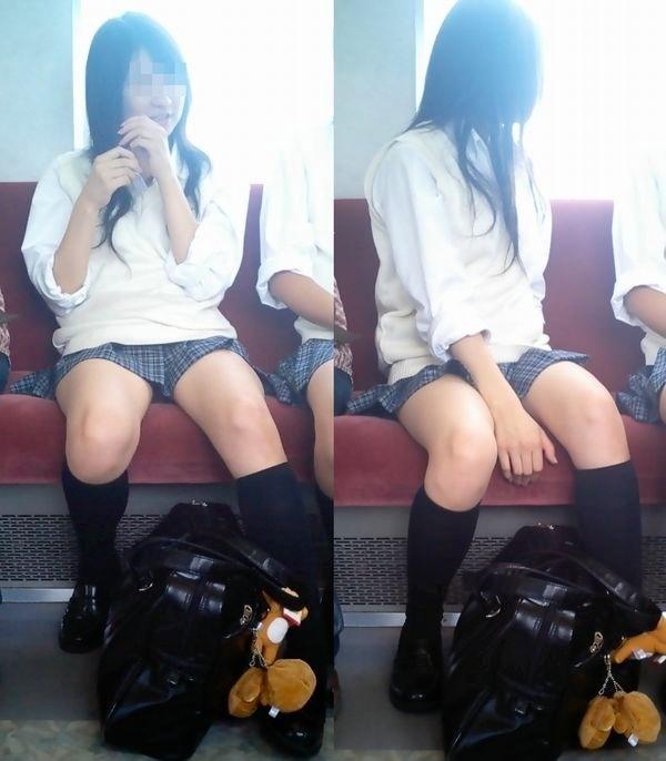 【電車内JK画像】むっ、JKが座席でムッチリ太もも晒してる…とりあえず視姦www 15