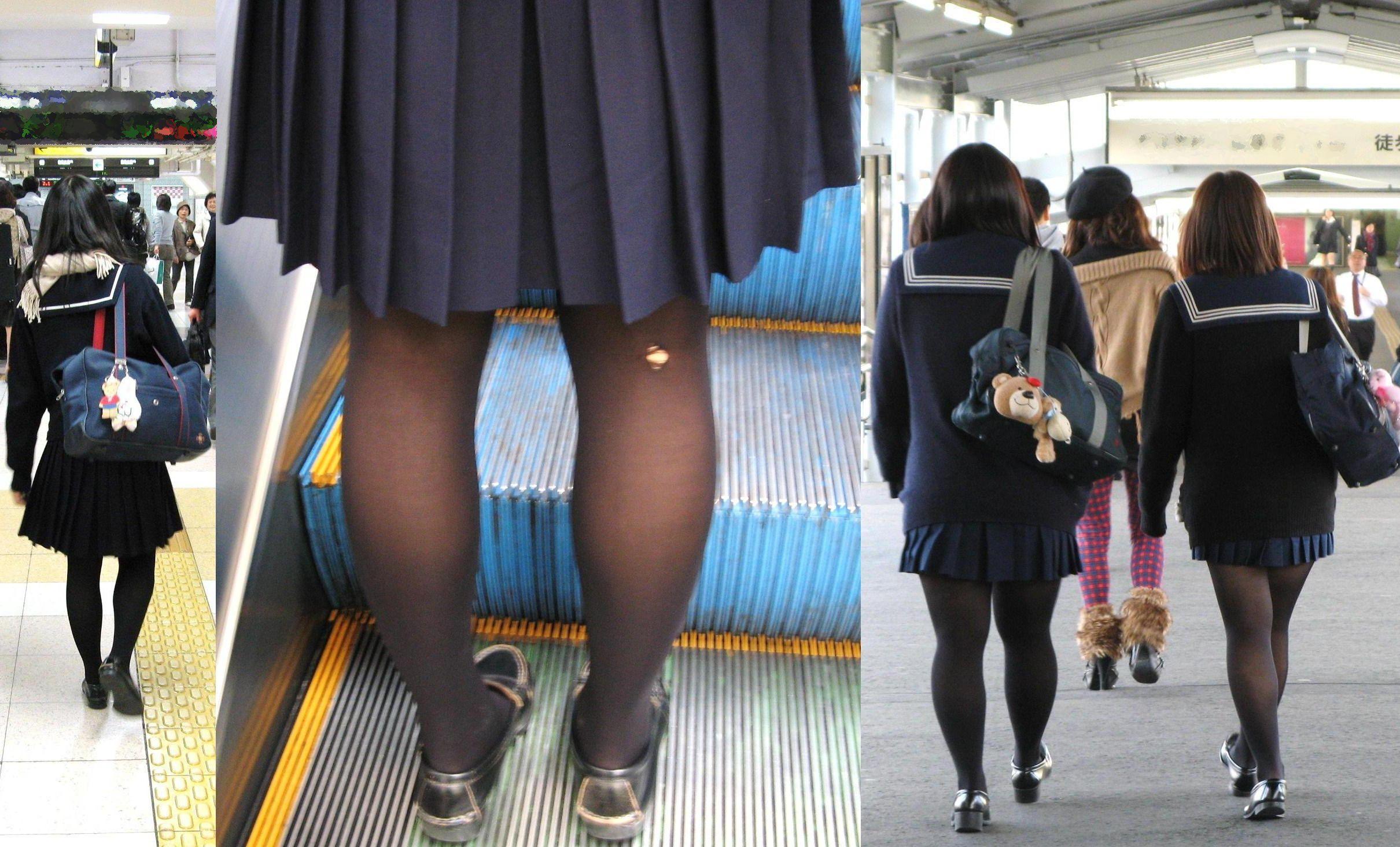 【街撮りJK画像】黒タイツ履いたお嬢様っぽいJKたちの美脚に見とれる画像 12