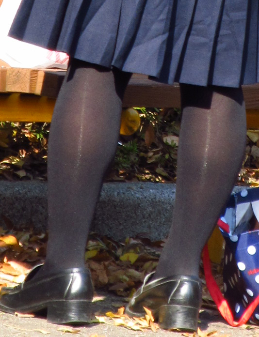 【街撮りJK画像】黒タイツ履いたお嬢様っぽいJKたちの美脚に見とれる画像 13