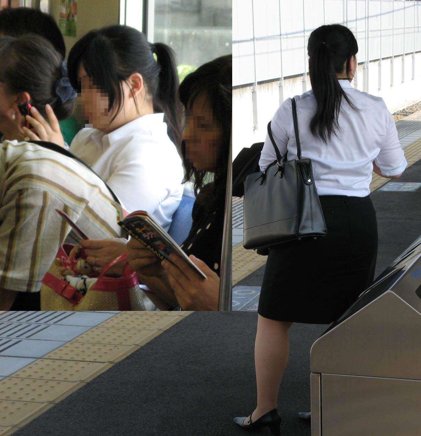 【街撮りリクスーエロ画像】膝下とタイトだけでも十分満たされるwww就活中のリクスー女子たち 06