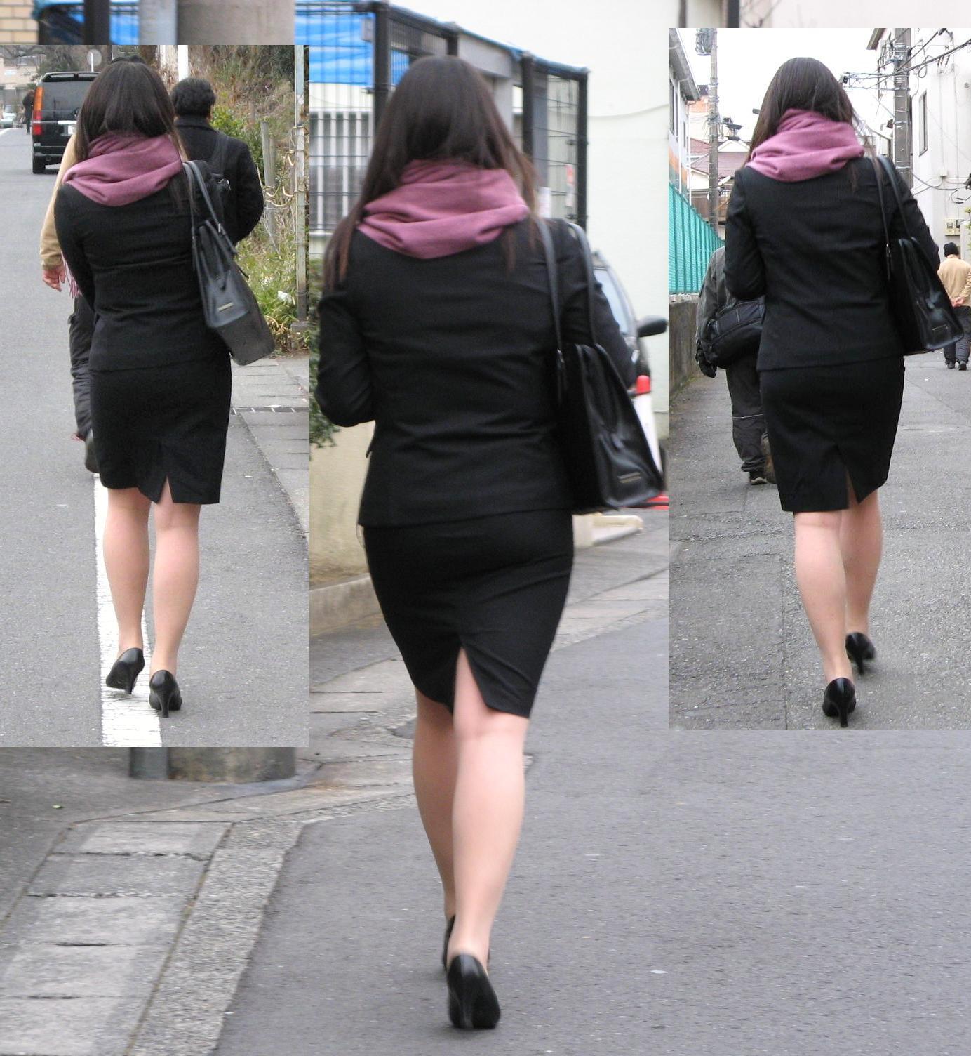 【街撮りリクスーエロ画像】膝下とタイトだけでも十分満たされるwww就活中のリクスー女子たち 07