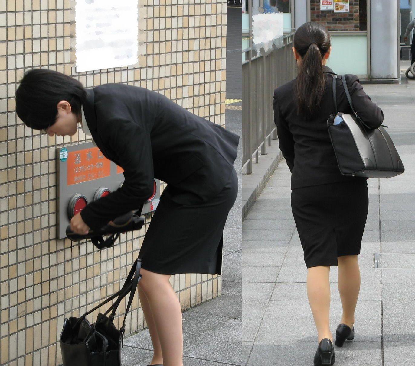 【街撮りリクスーエロ画像】膝下とタイトだけでも十分満たされるwww就活中のリクスー女子たち 09
