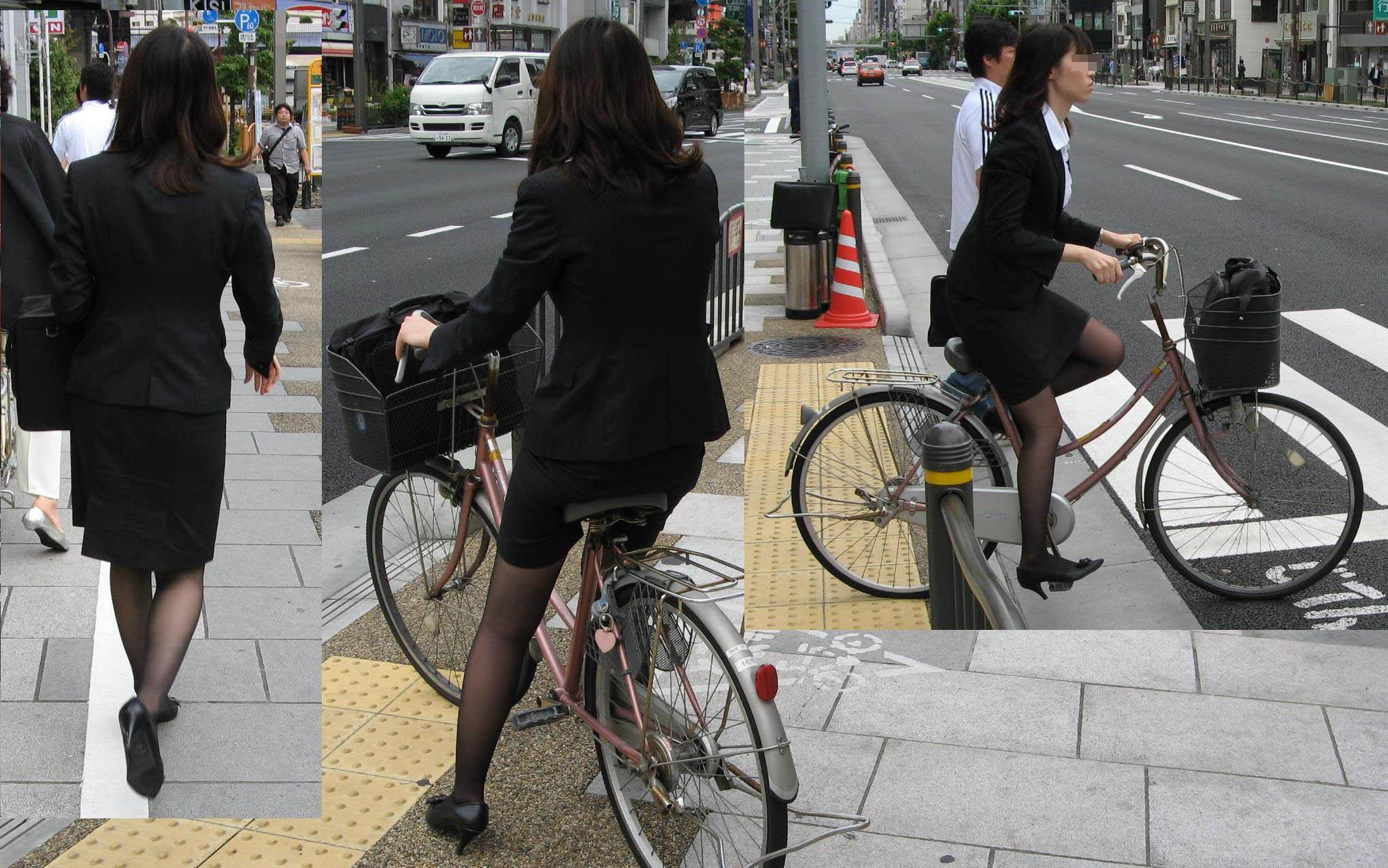 【街撮りリクスーエロ画像】膝下とタイトだけでも十分満たされるwww就活中のリクスー女子たち 11