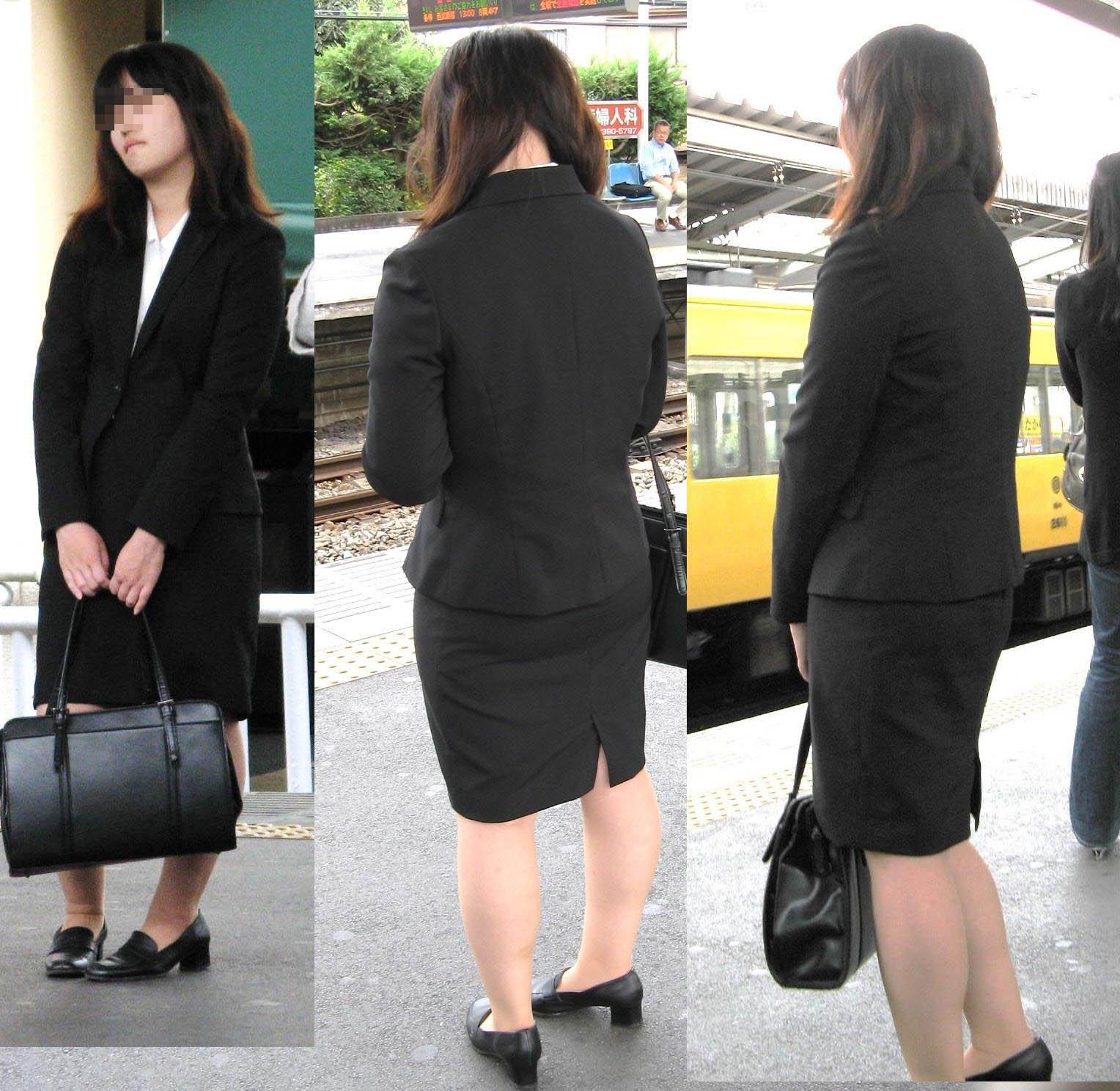 【街撮りリクスーエロ画像】膝下とタイトだけでも十分満たされるwww就活中のリクスー女子たち 12