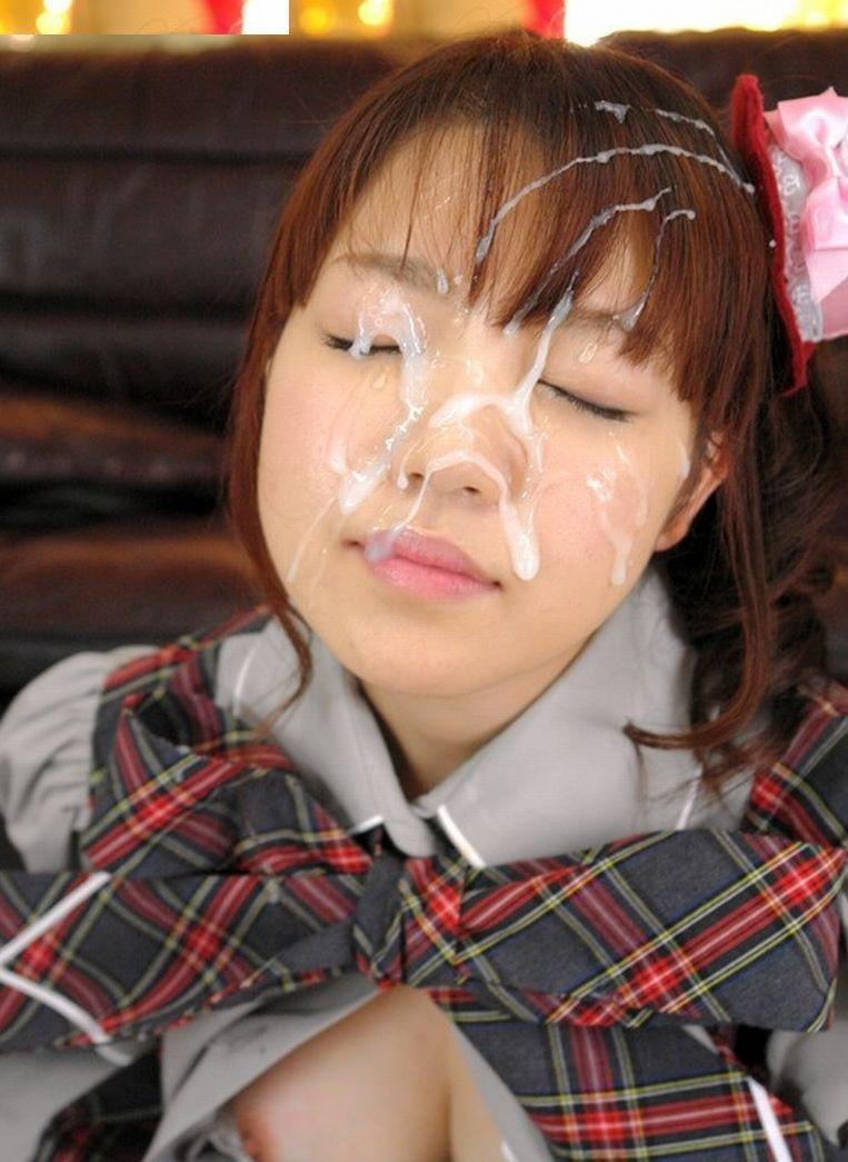 【ぶっかけエロ画像】顔中を覆い尽くせれば気分爽快!一度はやりたいザーメン顔射の画像  01