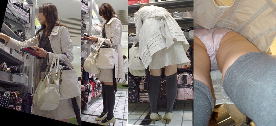 【逆さ撮りエロ画像】肌までクッキリwスカート内部のギリギリまで接近した逆さ撮りパンチラwww  01