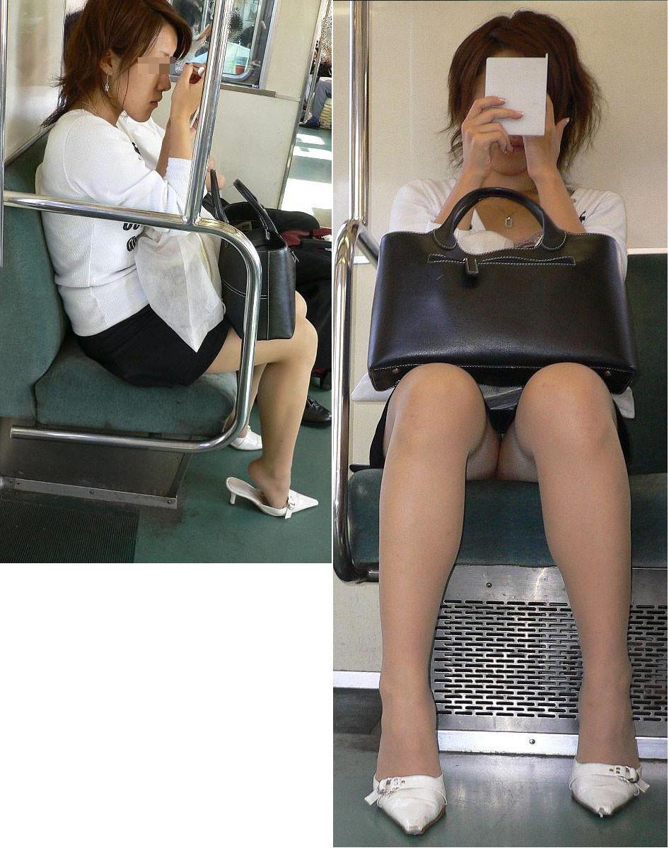 【対面パンチラエロ画像】電車通勤で座れる男達の密かな楽しみwww対面女性のミニスカチラ覗き 08