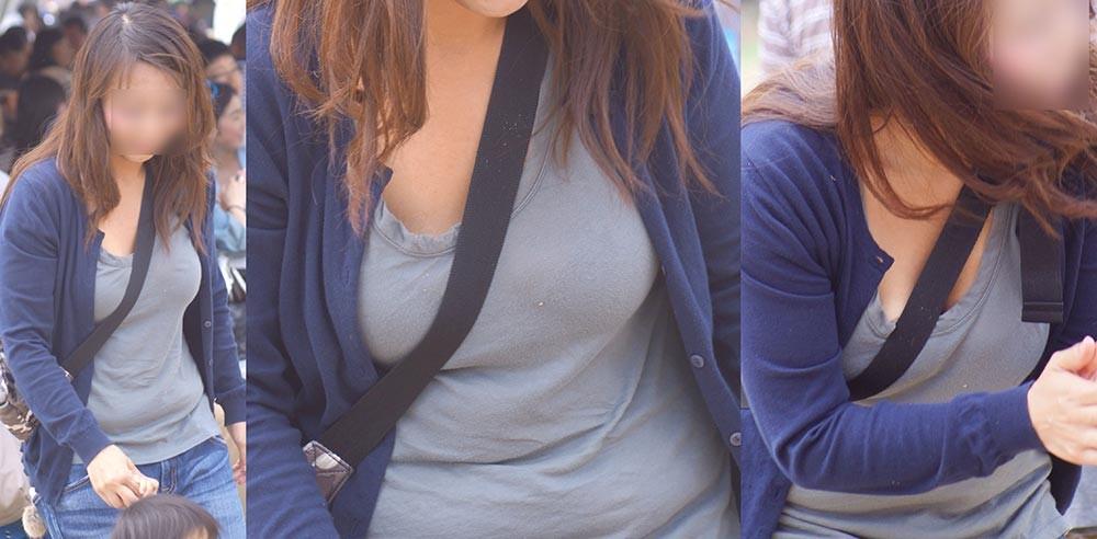 【着衣胸エロ画像】街行くママさん方の巨乳が目立ちすぎでヤバい…ついでに腹もwww 17