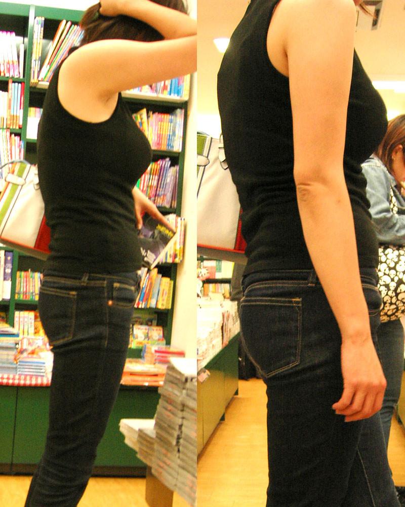 【着衣巨乳エロ画像】何着ても目立ってしまう膨らみ…増殖しすぎのイヤらしき乳袋持ちな素人www 16