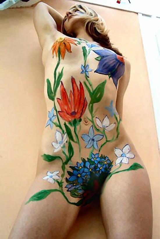 【露出エロ画像】着てません、描いてるだけですwww芸術的でも卑猥さは不可避のボディペイント 01