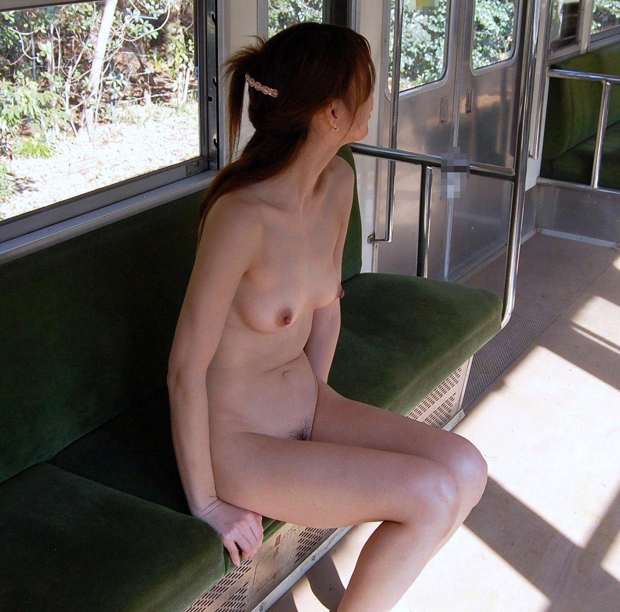【露出エロ画像】地方の過疎気味な電車が露出プレイの温床に!?鈍行に揺られる変態女の裸体www 06