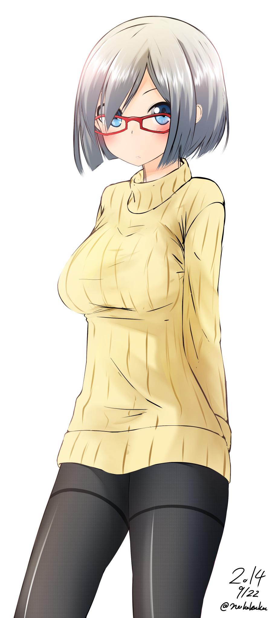 【二次エロ画像】巨乳美少女がセーター着たら特盛り凄すぎてメチャクチャされるフラグwww 02