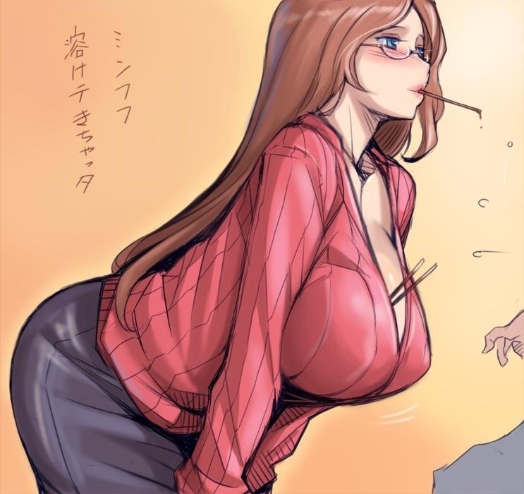 【二次エロ画像】巨乳美少女がセーター着たら特盛り凄すぎてメチャクチャされるフラグwww 15