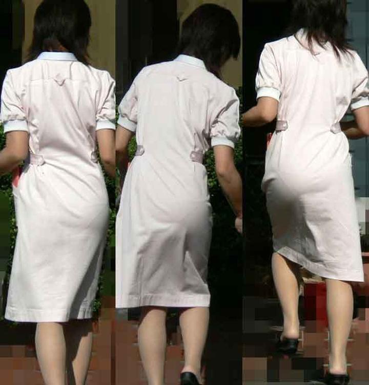 【働く女性エロ画像】上も下も透けるしチラ見えまで…ナースの白衣は割と無防備な件www 06