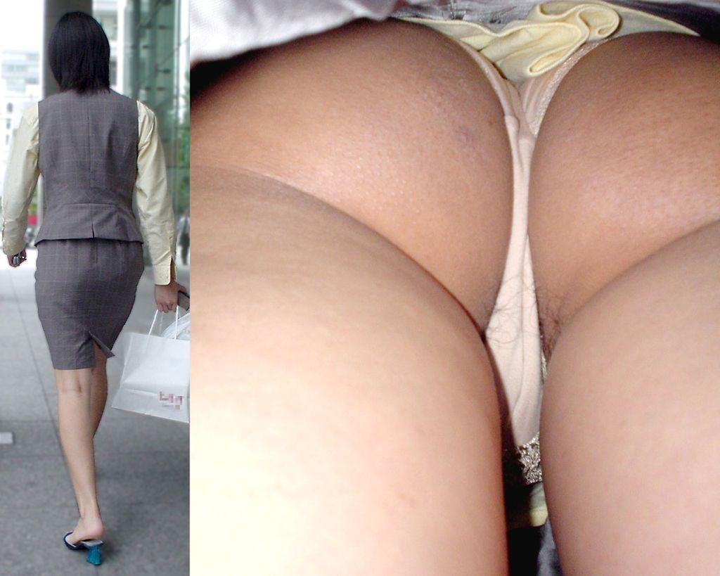 【パンチラエロ画像】Tバッカー多すぎw尻丸出しのスカート内部を暴く逆さ撮りwww 01
