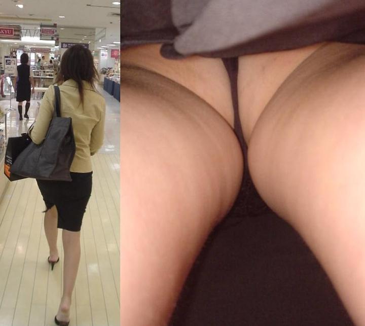 【パンチラエロ画像】Tバッカー多すぎw尻丸出しのスカート内部を暴く逆さ撮りwww 02