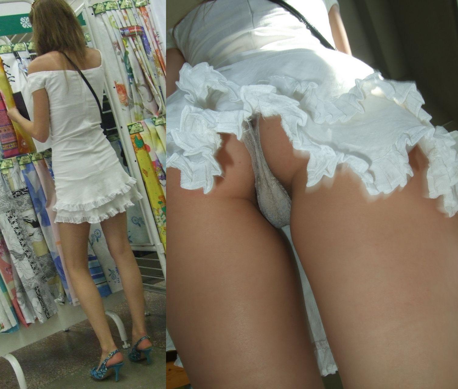 【パンチラエロ画像】Tバッカー多すぎw尻丸出しのスカート内部を暴く逆さ撮りwww 04