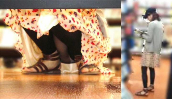 【パンチラエロ画像】パンツ見たさに今日も冷やかしw浮きスジも見逃さない棚下からパンチラwww 03