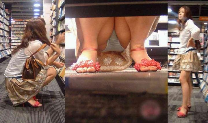 【パンチラエロ画像】パンツ見たさに今日も冷やかしw浮きスジも見逃さない棚下からパンチラwww 13