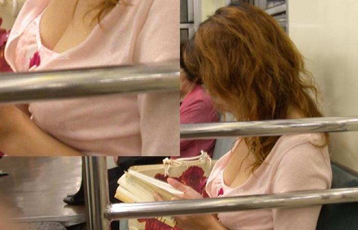 【胸チラエロ画像】拝めたら座れなくても平気w電車内で見かけた着衣巨乳と胸チラwww 001
