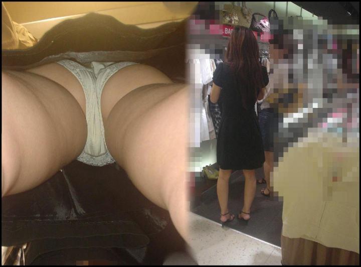 【パンチラエロ画像】仕込まなきゃ出来んレベルw見事にスカート内部を深く覗いた逆さ撮りwww 12