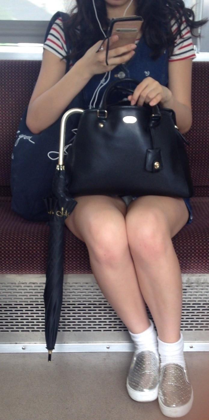 【パンチラエロ画像】降りそびれてもいいから見続けたい…電車対面パンチラwww 05