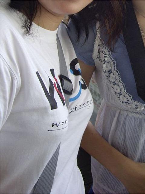 【パイスラエロ画像】尖らせ過ぎて何が目的?バッグ紐で胸を立てたパイスラ族www 13