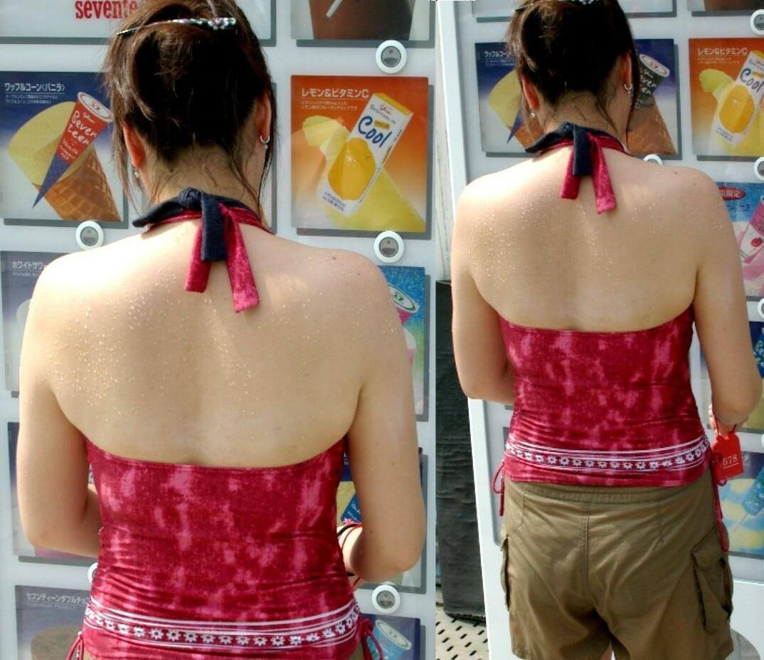 【私服エロ画像】綺麗な背中…エッチなマークを付けてやりたくなる後ろ丸見えギャルの街撮りwww 10