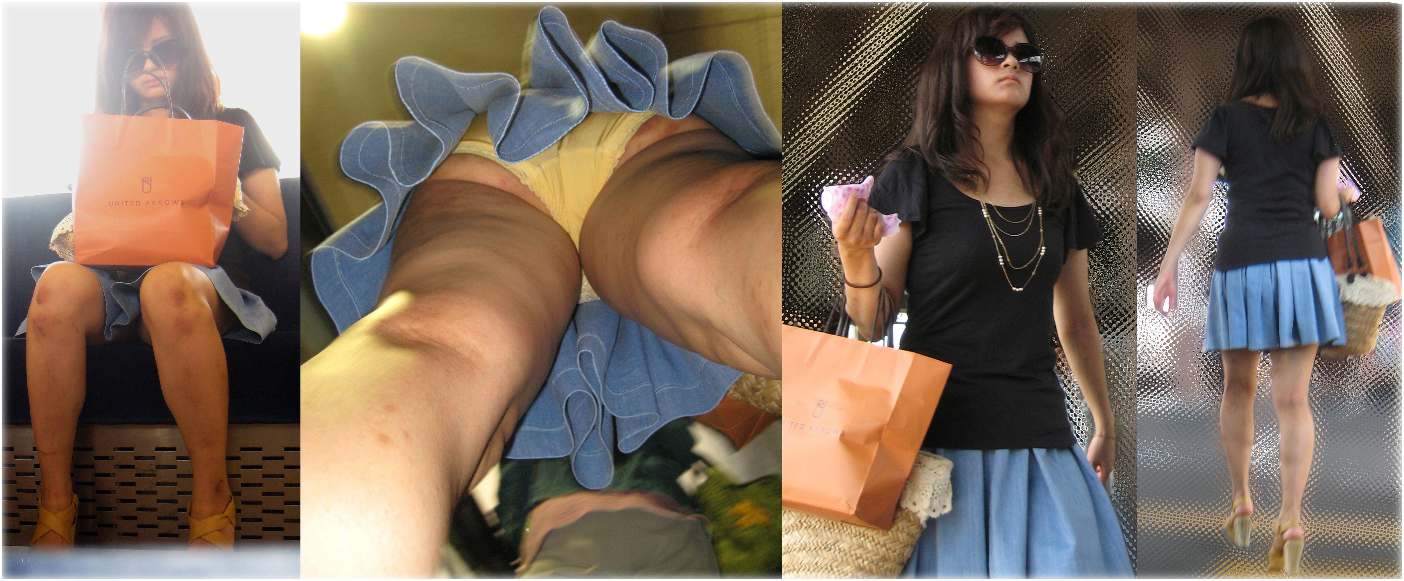 【パンチラエロ画像】どんな下着も丸見え!ムッチリ股間を逆さ撮りwww 05