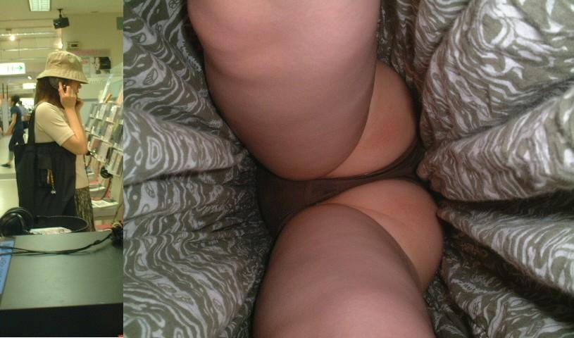 【パンチラエロ画像】どんな下着も丸見え!ムッチリ股間を逆さ撮りwww 26
