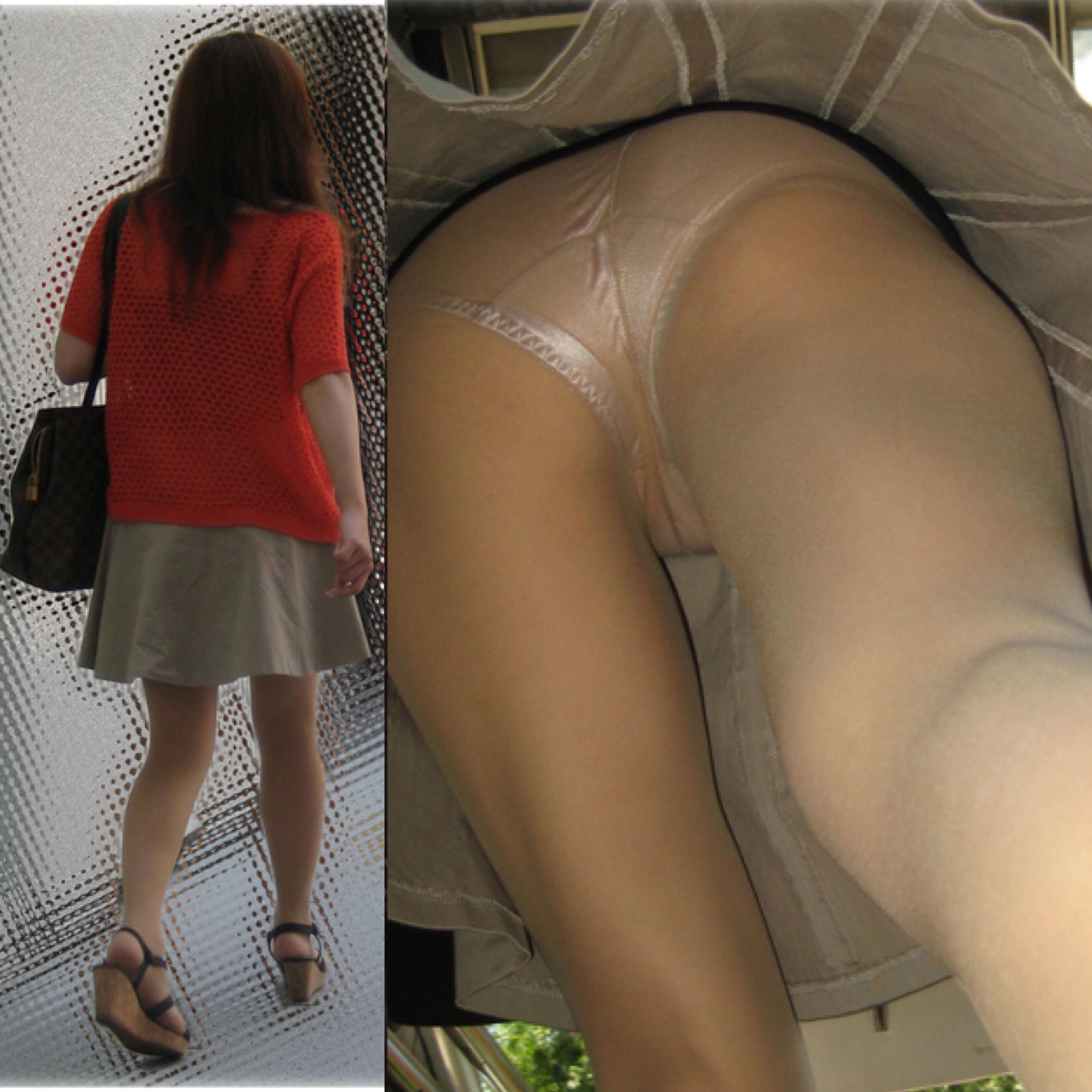 【パンチラエロ画像】どんな下着も丸見え!ムッチリ股間を逆さ撮りwww 29