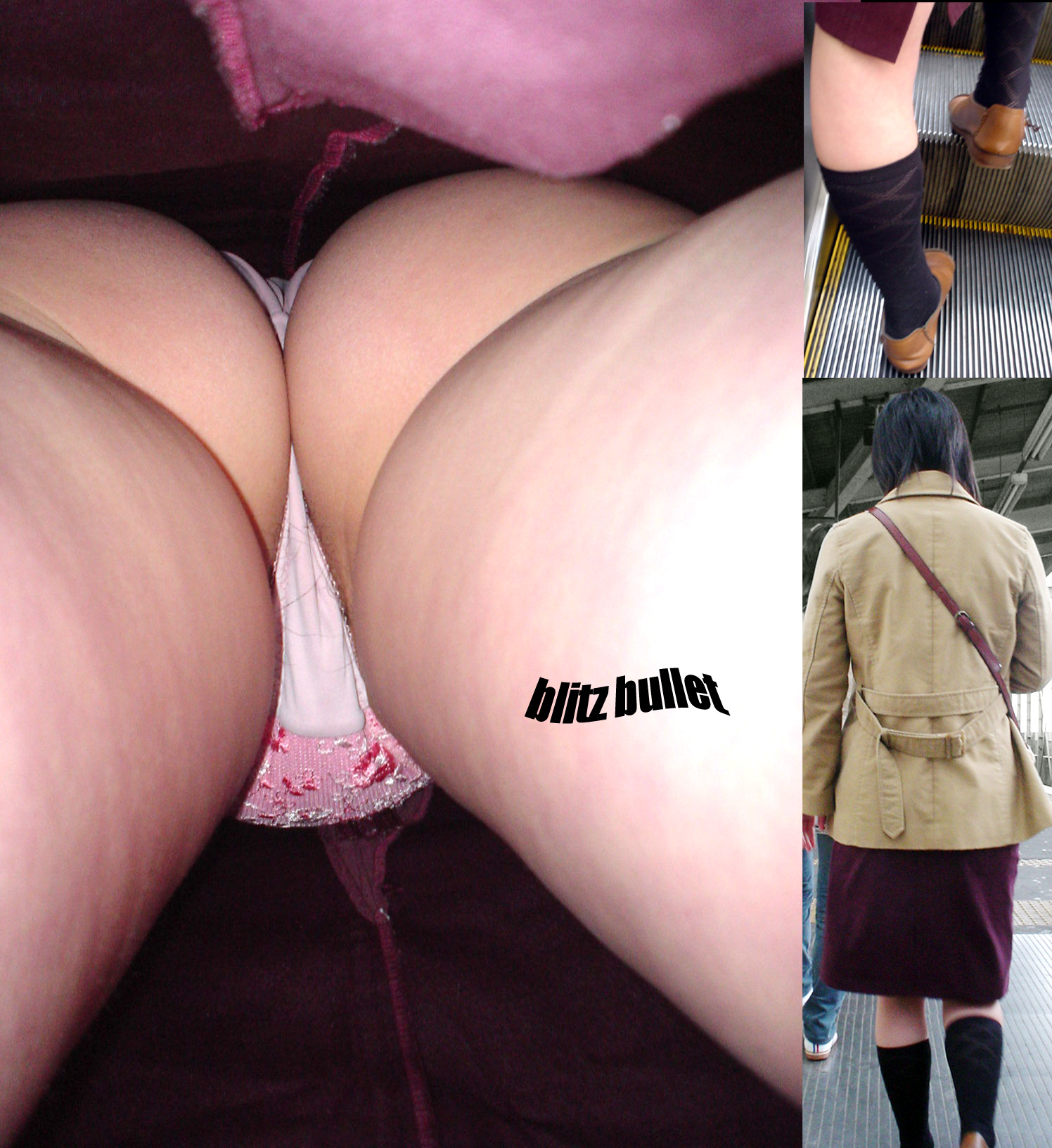 【パンチラエロ画像】お尻の色も目立つ原因wド派手パンツな女子の逆さ撮りwww 27