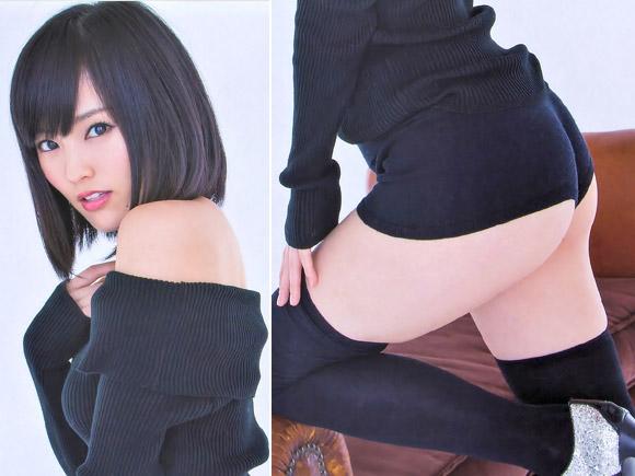 NMB山本彩(21)がピタピタパンツのお尻半分露出で着エロばりの過激っぷり