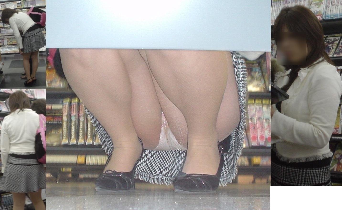 【パンチラエロ画像】クリスマスでもミニスカ客はきっと…店内棚下パンチラwww 08