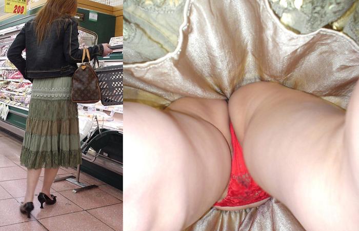 【パンチラエロ画像】スカート長いから大丈夫ってのは思い違いw逆さ撮り師のおパンツ暴きwww 001
