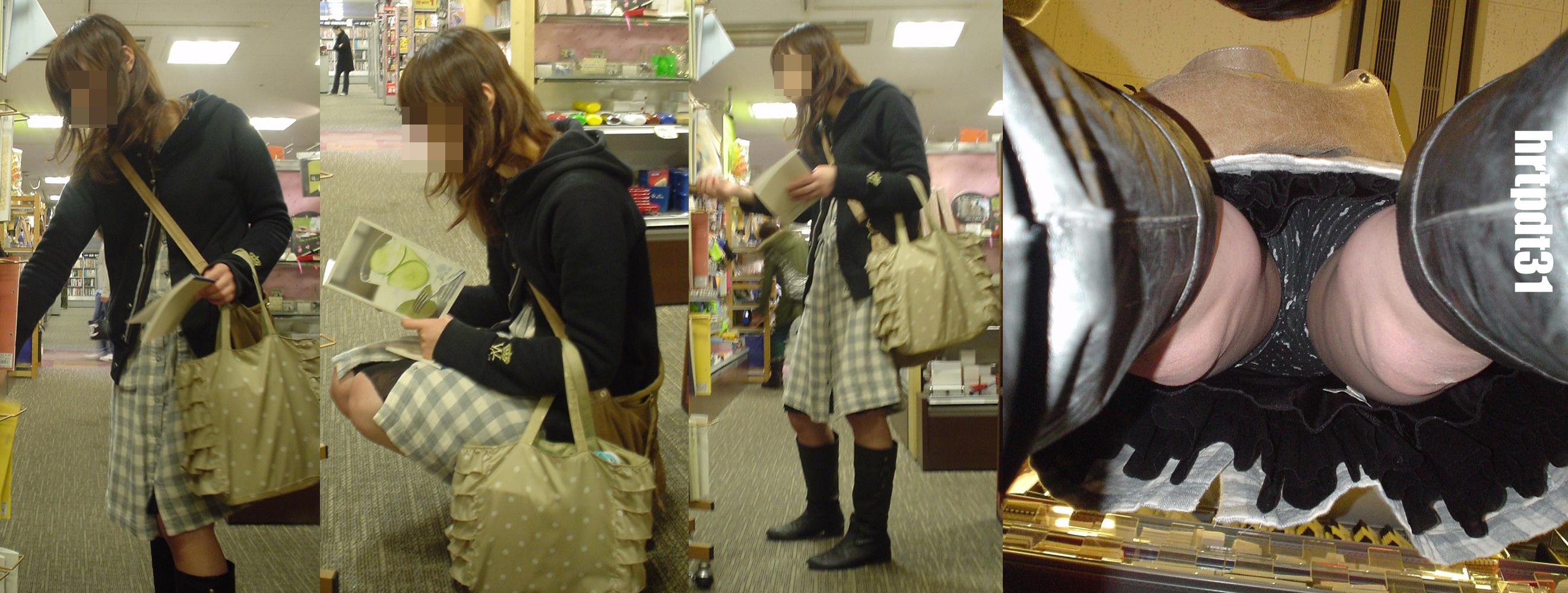 【パンチラエロ画像】スカート長いから大丈夫ってのは思い違いw逆さ撮り師のおパンツ暴きwww 28