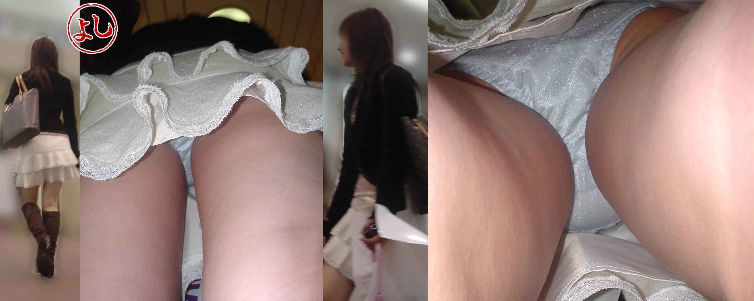 【パンチラエロ画像】スカート長いから大丈夫ってのは思い違いw逆さ撮り師のおパンツ暴きwww 29