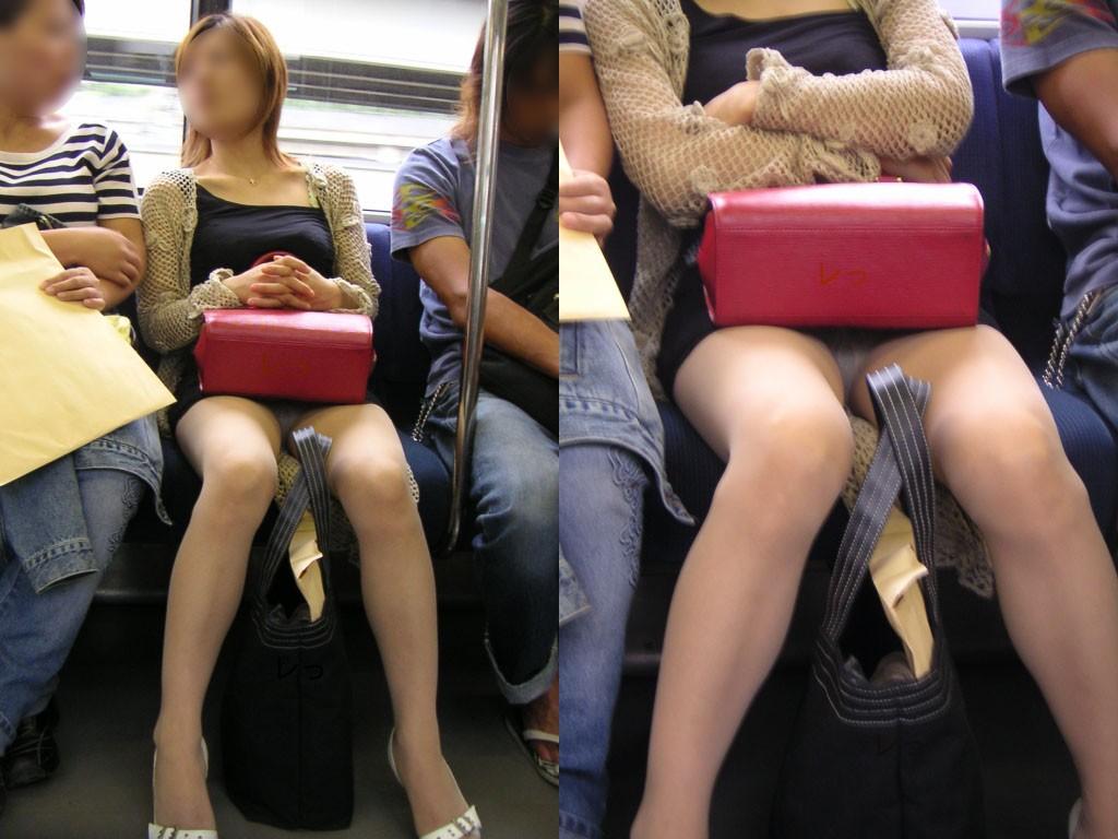 【パンチラエロ画像】対面で寝たフリが定石w電車内のパンチラ女を密かに観察www 10